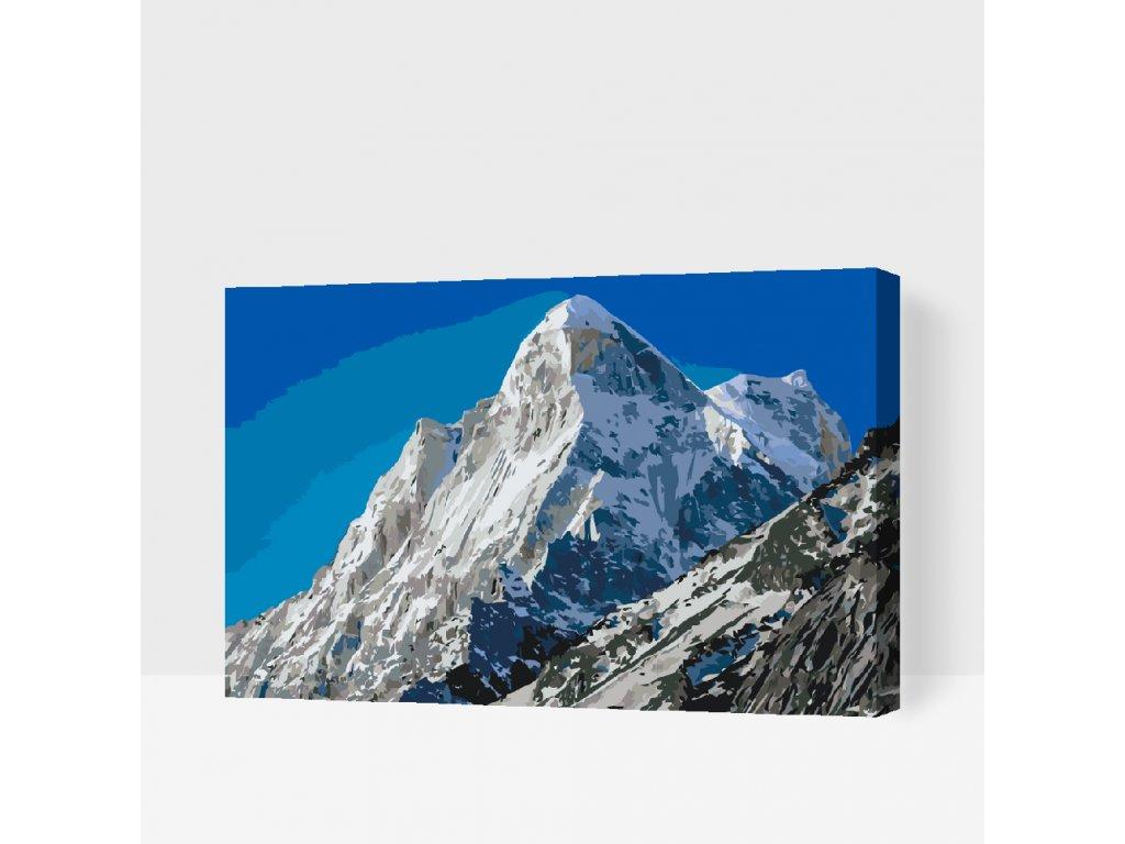 Malování podle čísel - Zasněžené hory (Rámování Bez rámu (pouze plátno), Velikost 40x60cm)