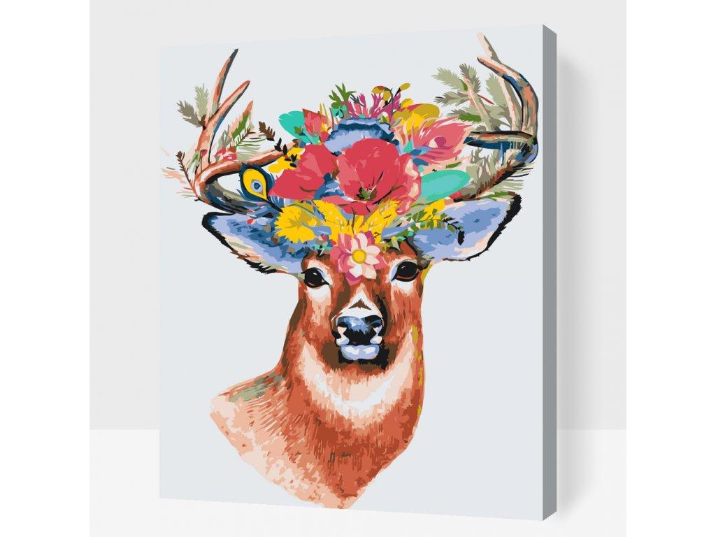 Malování podle čísel - Květinový jelen (Rámování Bez rámu (pouze plátno), Velikost 40x50cm)