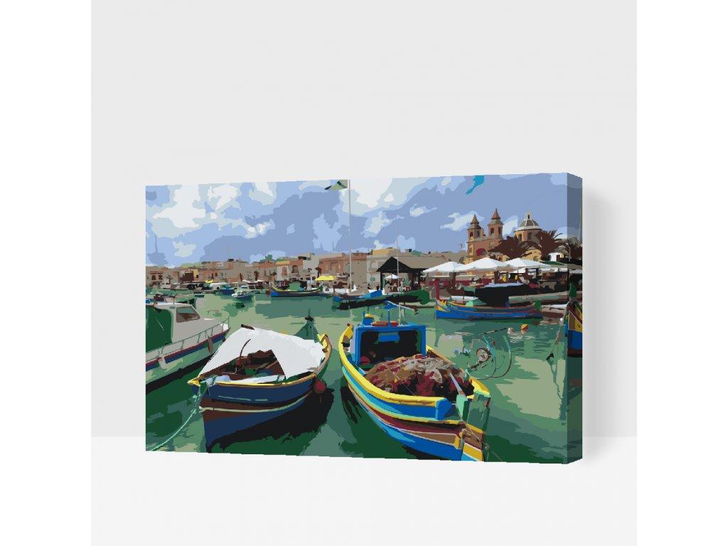 Malování podle čísel - Barevné rybářské lodě (Rámování Bez rámu (pouze plátno), Velikost 40x60cm)