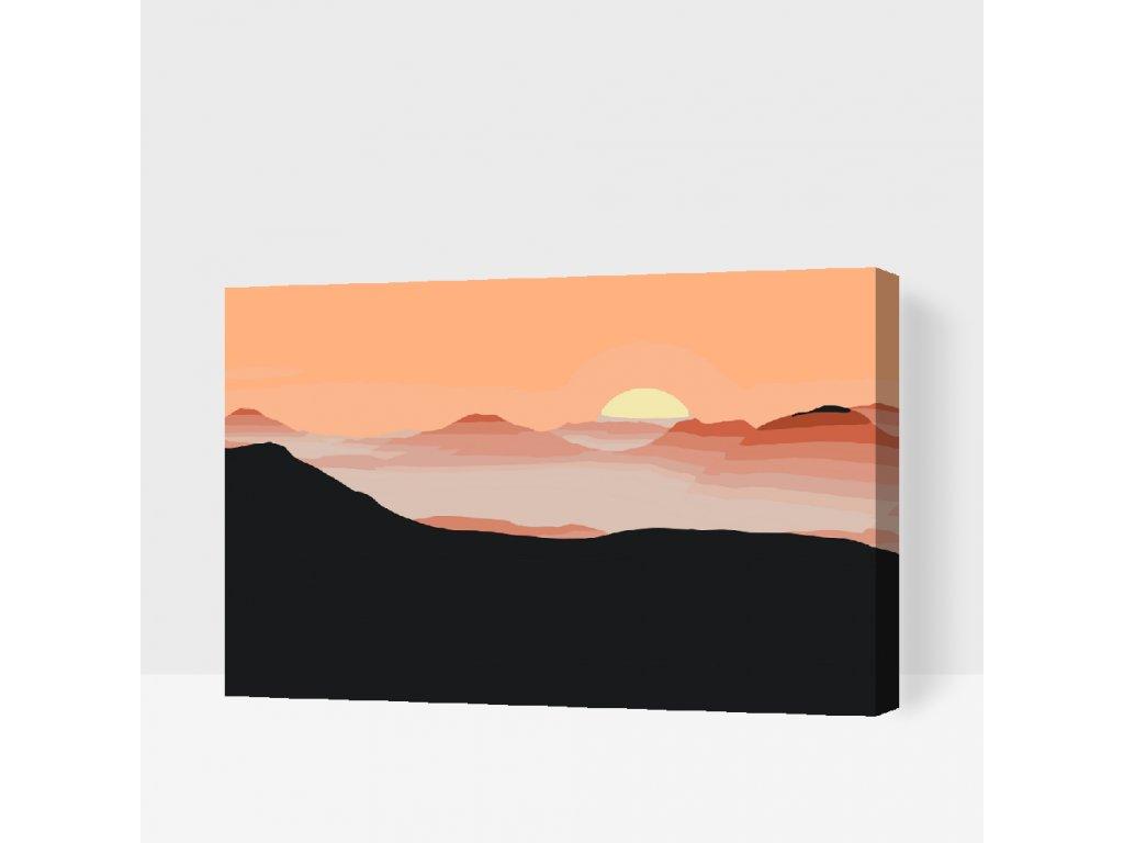 Malování podle čísel - Slunce v horách (Rámování Bez rámu (pouze plátno), Velikost 40x60cm)