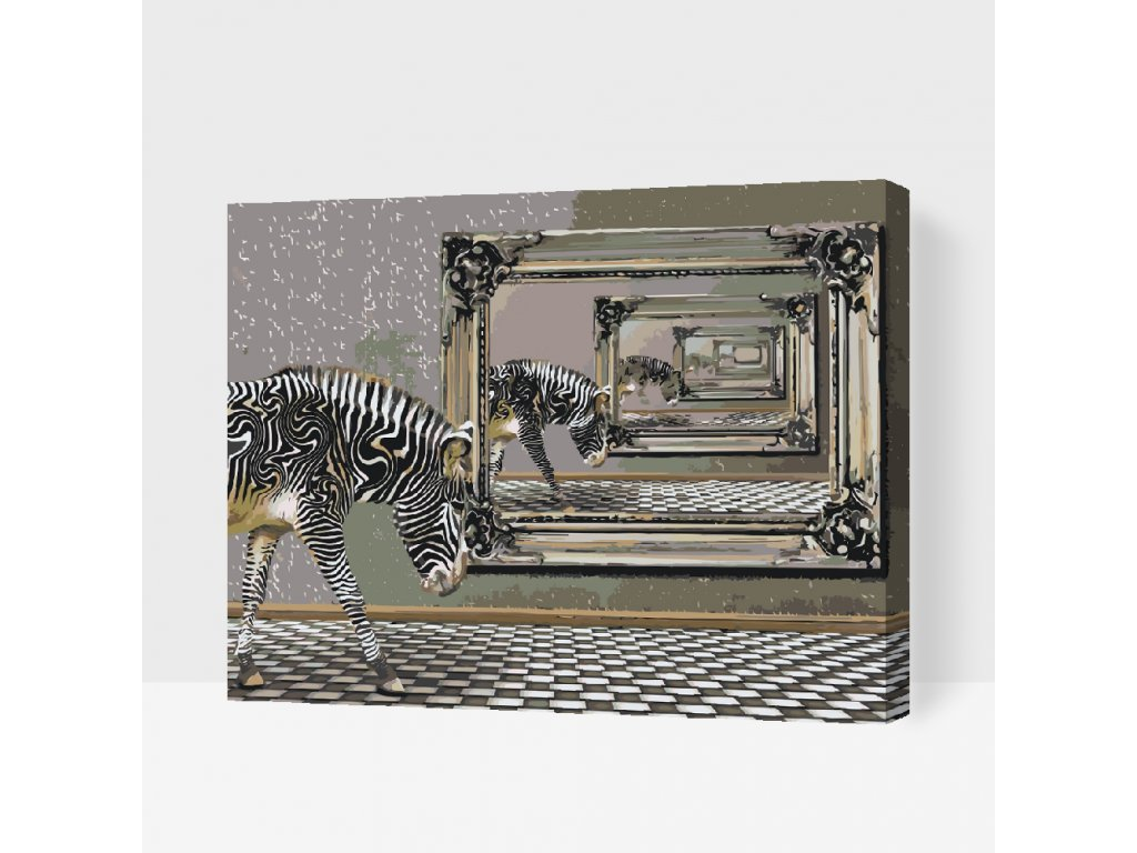 Malování podle čísel - Zebra a zrcadlo (Rámování Bez rámu (pouze plátno), Velikost 80x100cm)