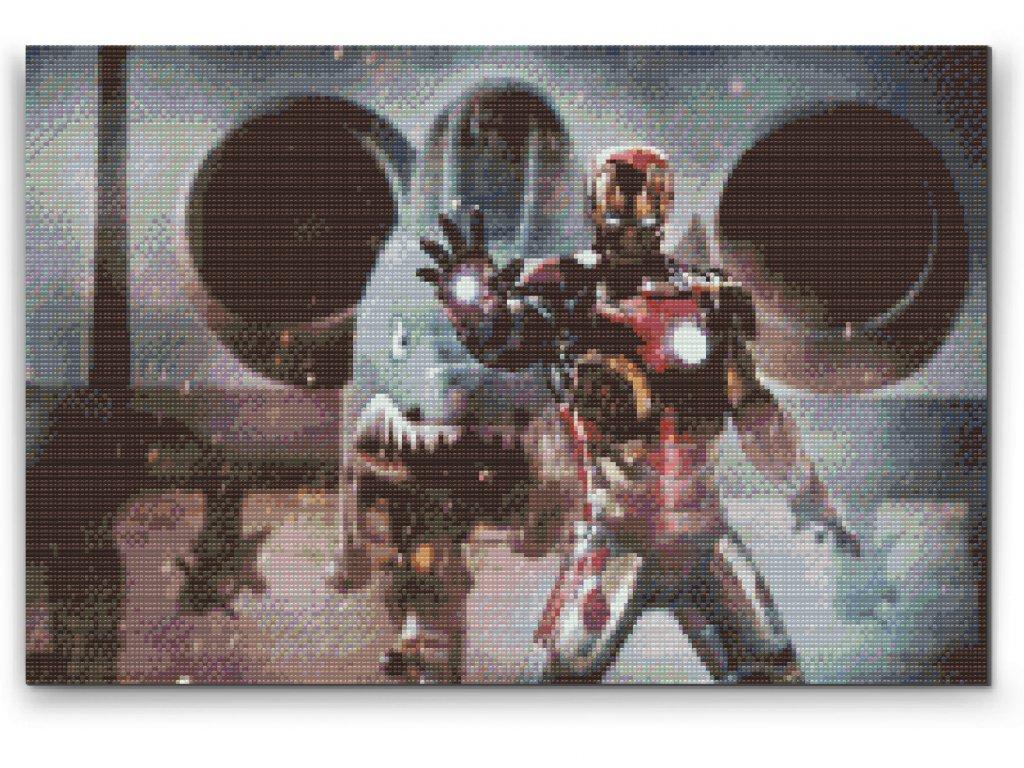 Diamantové malování - Iron Man (Rámování Bez rámu (pouze plátno), Velikost 40x60cm)