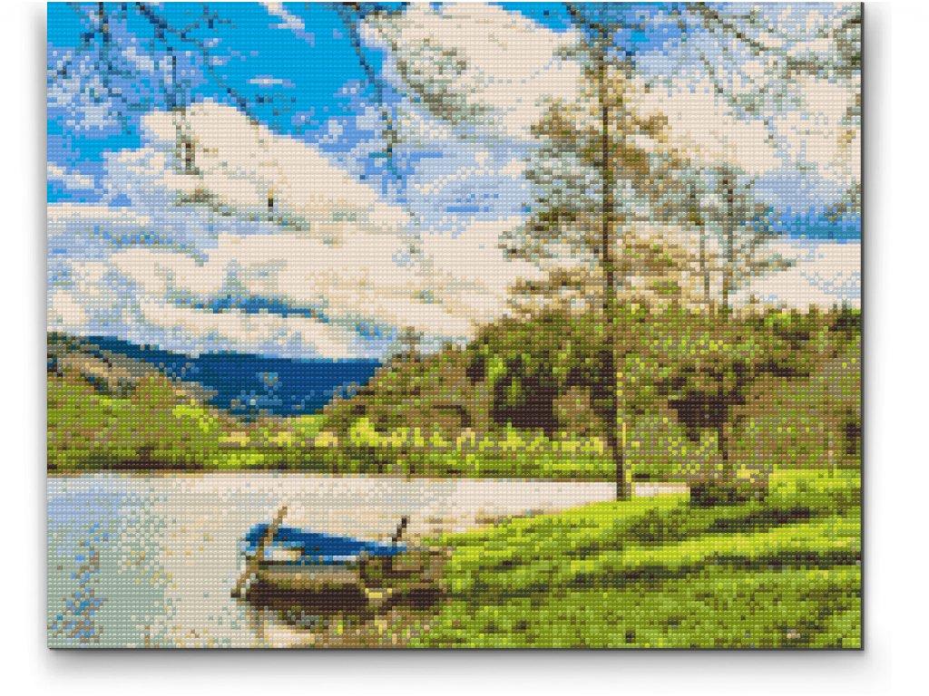 Diamantové malování - Jezero v horách (Rámování Bez rámu (pouze plátno), Velikost 40x50cm)