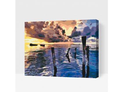 Malování podle čísel - Bouřlivý západ slunce (Rámování Bez rámu (pouze plátno), Velikost 40x50cm)
