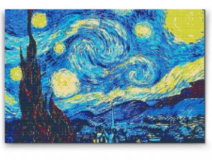 Diamantové malování - Vincent Van Gogh - Hvězdná noc (Rámování Bez rámu (pouze plátno), Velikost 40x60cm)