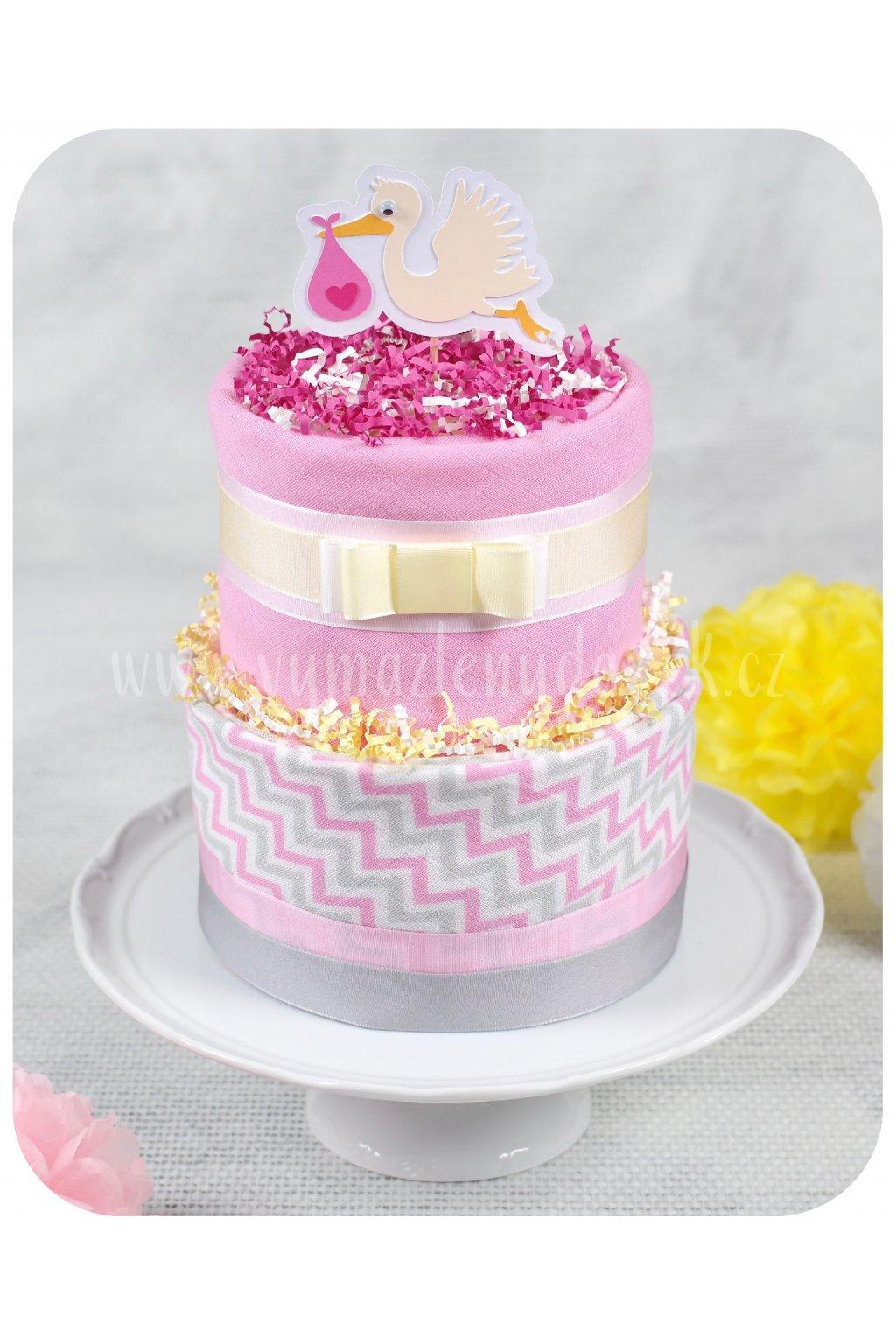 Dvoupatrový plenkový dort Baby Pink
