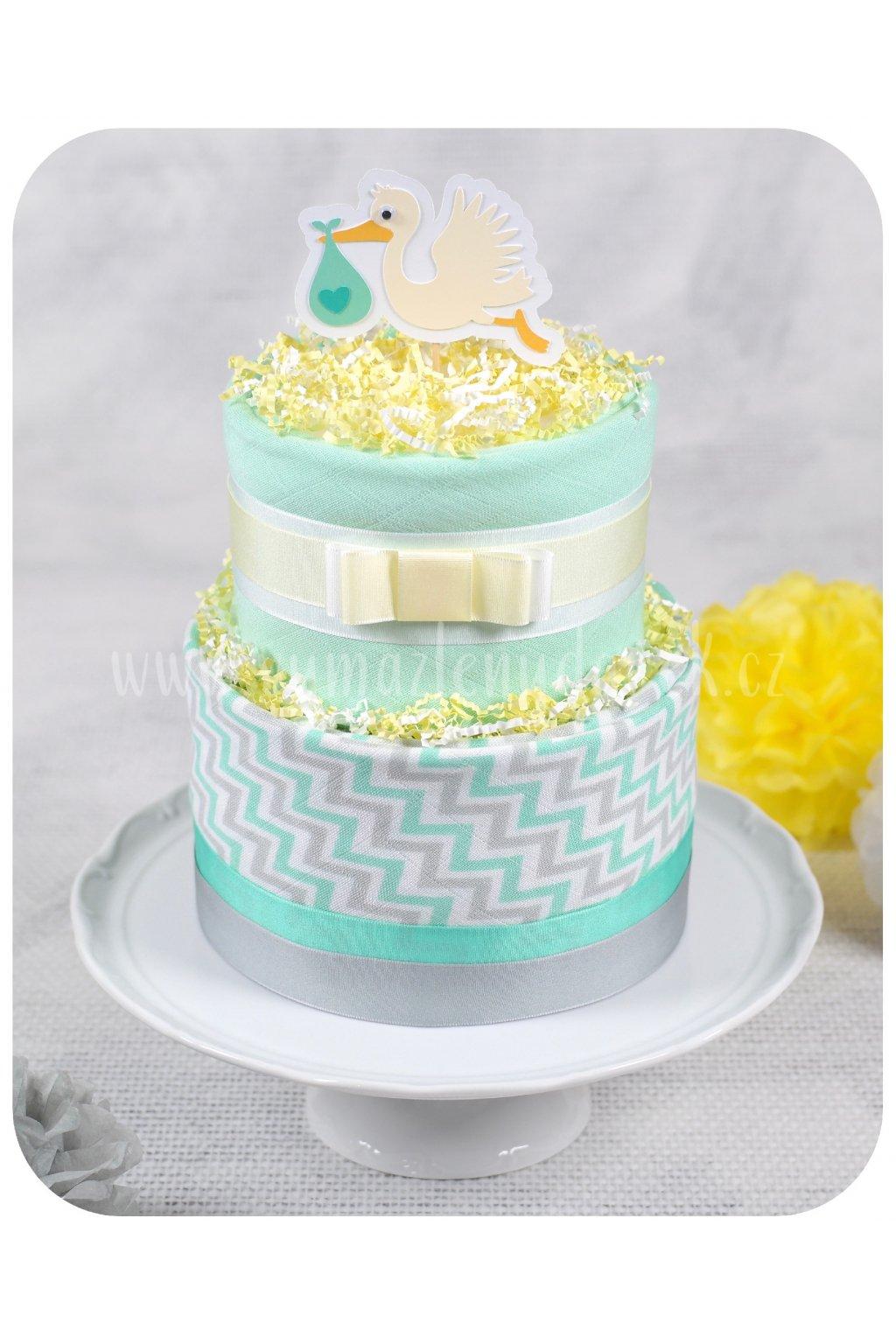 Dvoupatrový plenkový dort Baby Mint