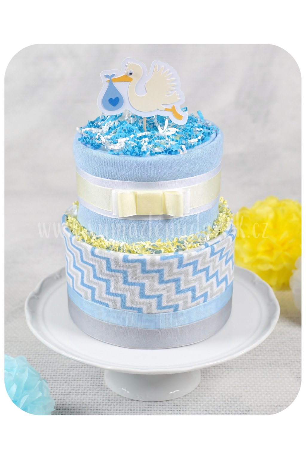 Dvoupatrový plenkový dort Baby Blue