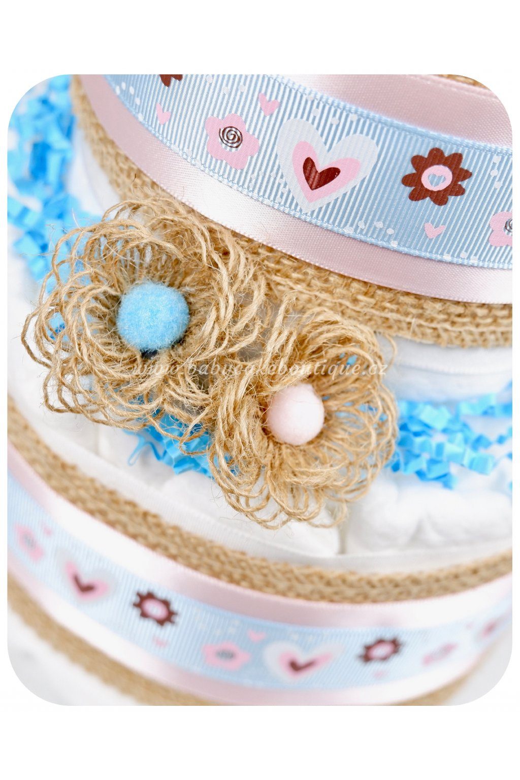 Dvoupatrový plenkový dort Alex detail