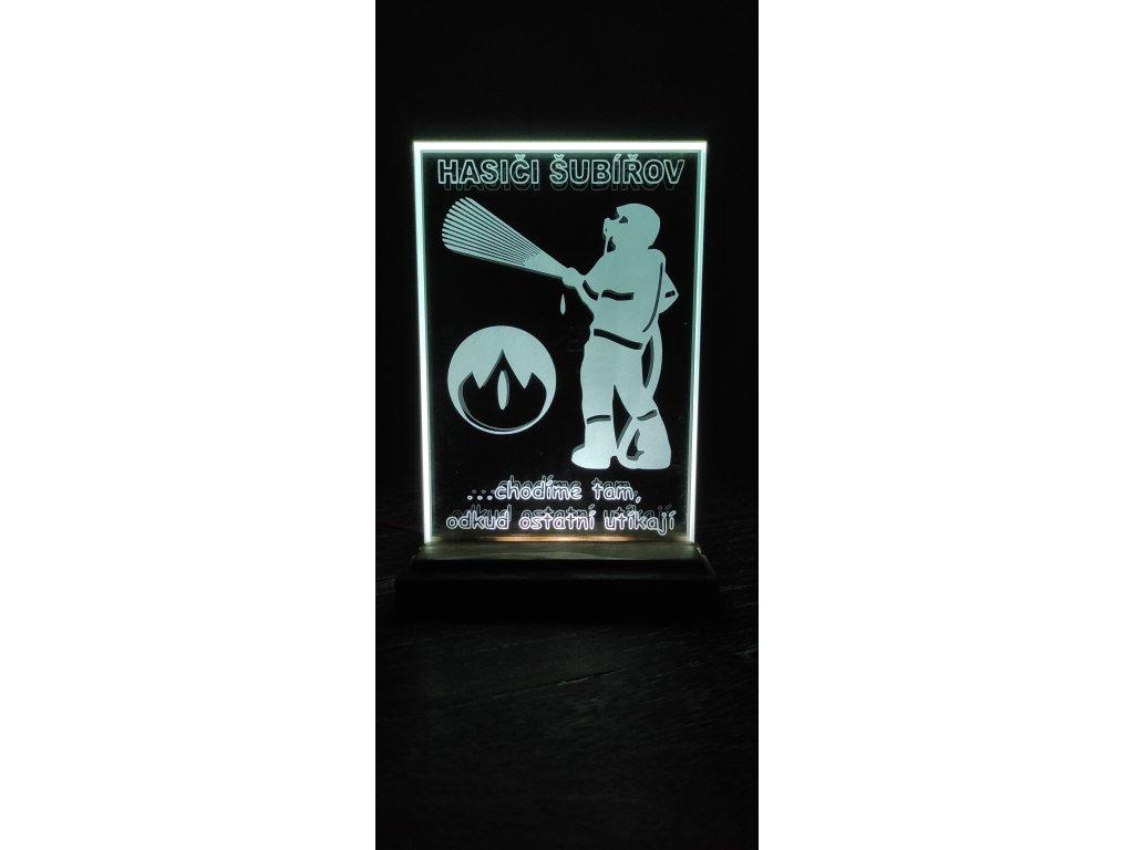 Skleněná plaketa s LED osvětlením 15x20cm