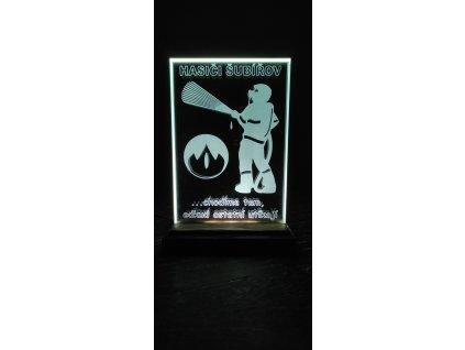 Skleněná plaketa s LED osvětlením 10x15cm