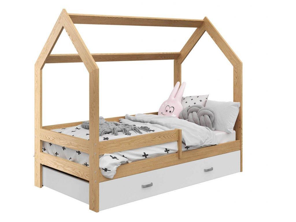 Detská posteľ DOMČEK D3 borovica 80x160 cm s úložným boxom bielym