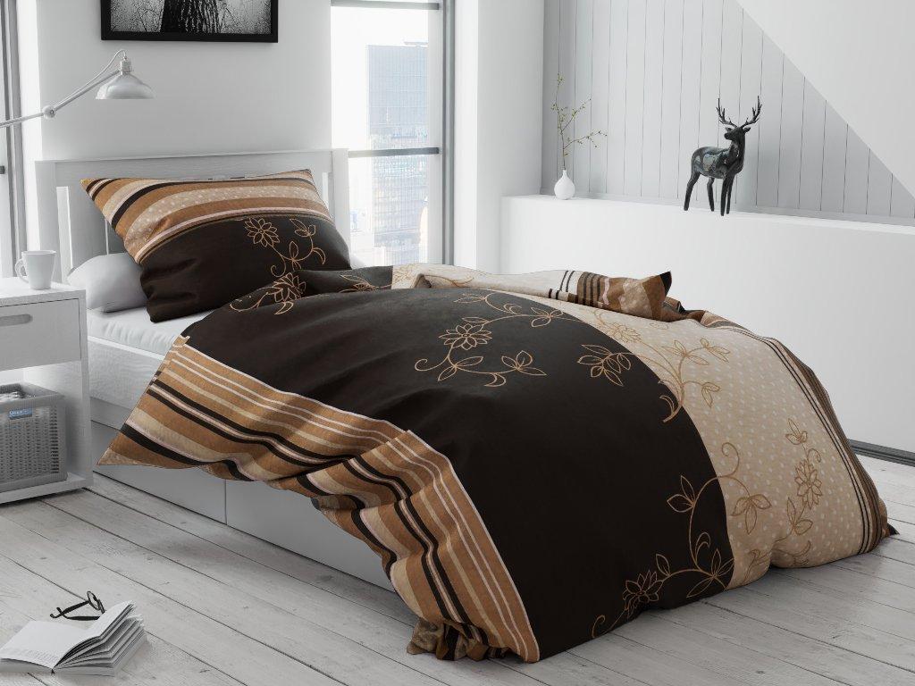 Bavlnené obliečky Bezkvet hnedý hotelová kapsa