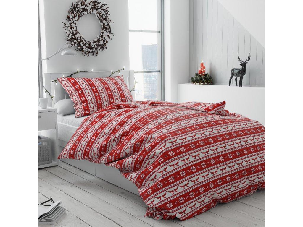 Vánoční bavlnené obliečky Pruhy červené
