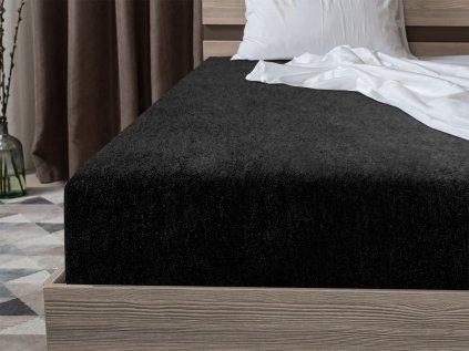 Froté plachta čierna 160x200 cm