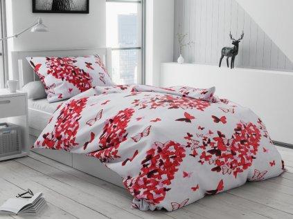 Flanelové obliečky Butterfly červené