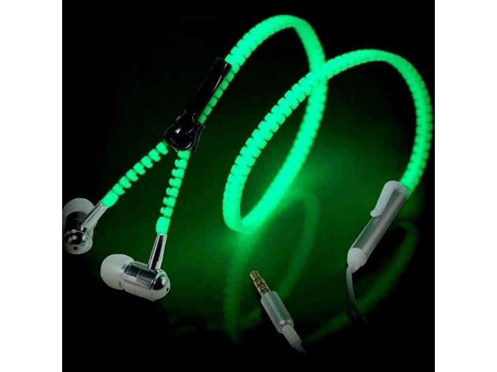 Teamyo Metal Zipper Luminous Earphone Glowing Music Stereo Headset With Mic Night Lighting Handsfree For iPhone (1)