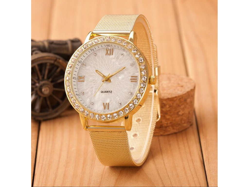 2017 Women watches Hot Ladies Crystal Roman Numerals Gold Mesh Band Wrist Watch Stainless Steel Dress (1)