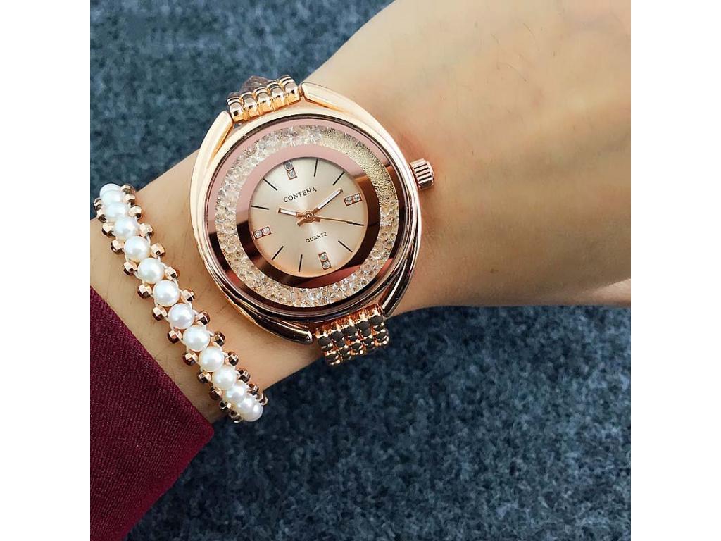 Elegantní hodinky Lovato s crystaly (Barevná varianta Stříbrné barevné  provedení)