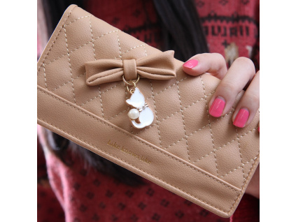 Ladies Leather Wallet Bow Women Wallets And Purses Female Large Zipper Long Vintage High Quality Leather (5)