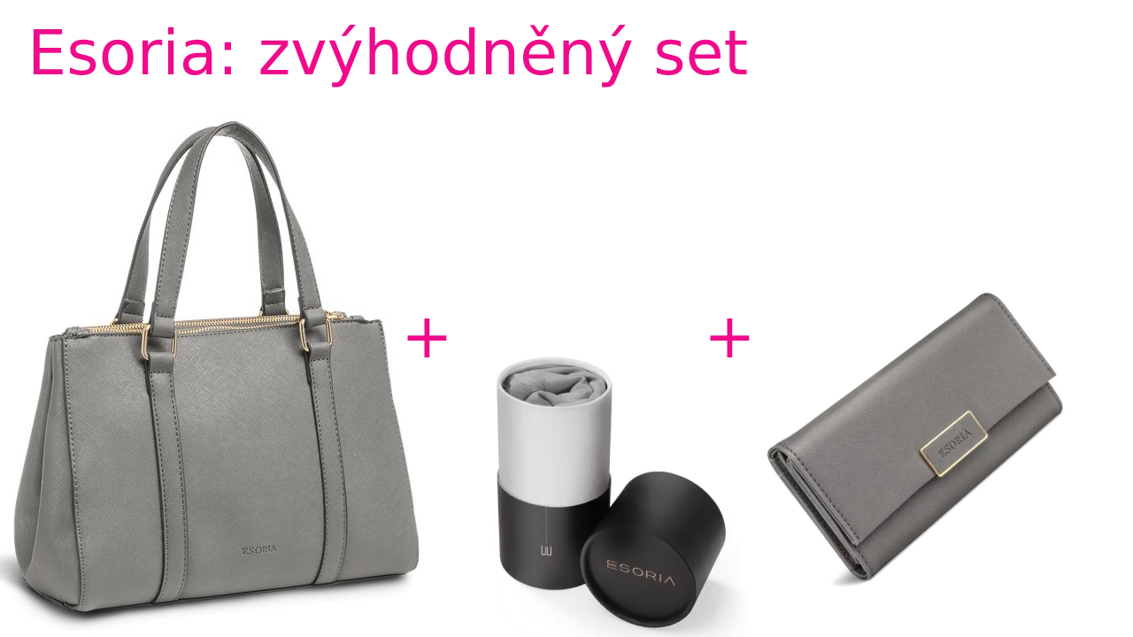 Zvýhodněná sada Esoria: kabelka Lilza- cloud a šátek High Society šedý