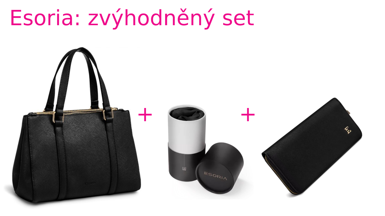 Zvýhodněná sada Esoria: kabelka Lilza- noire a šátek High Society-noire+ peněženka elisaa-noire