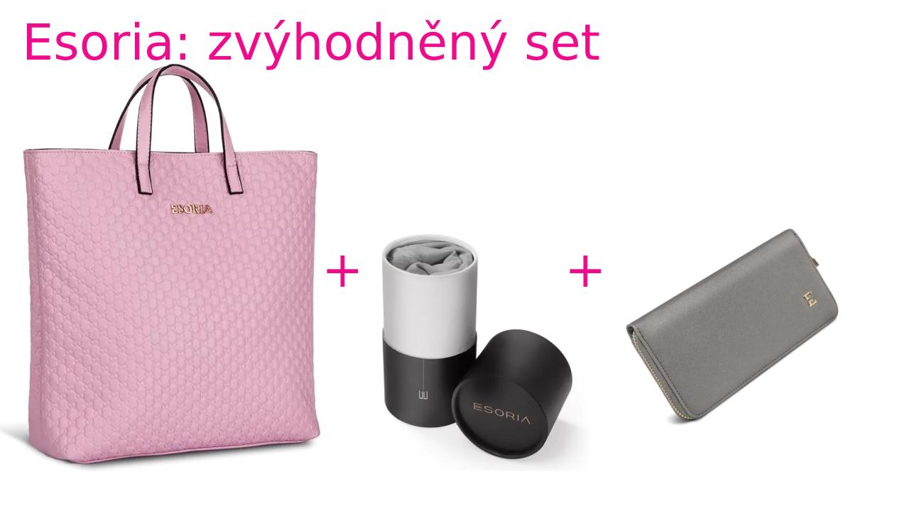 Zvýhodněná sada Esoria: kabelka Almira Pink a šátek High Society šedý