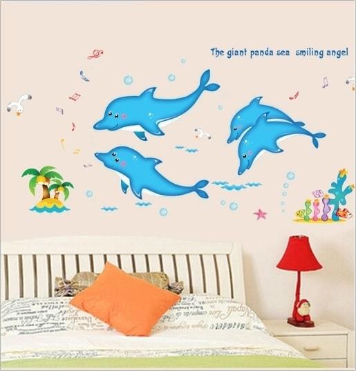 RC Ventures Nalepovací zvířátka na zeď - Delfínci