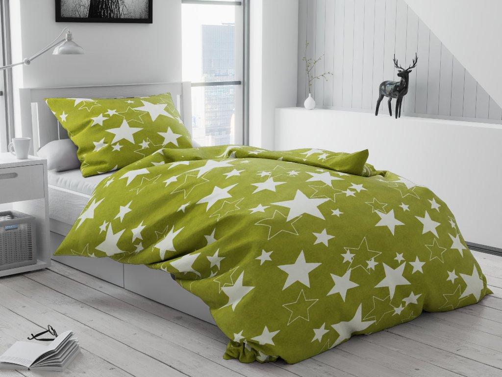 Krepové povlečení Star zelená