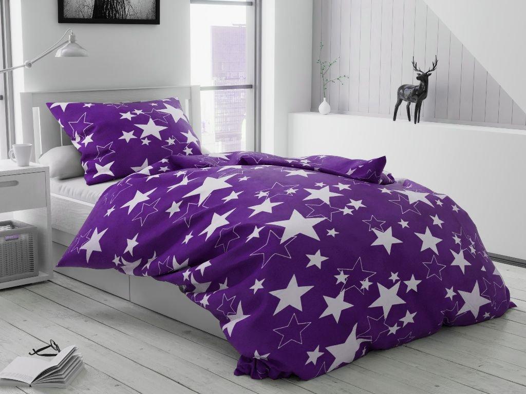 Krepové povlečení Star fialová