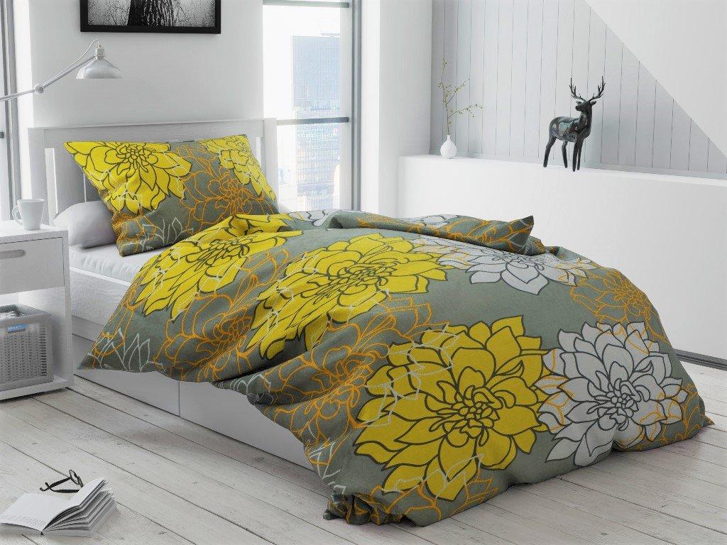 Bavlněné povlečení šedé žluté bílé květiny květy růže chryzantéma zahrada přírodní