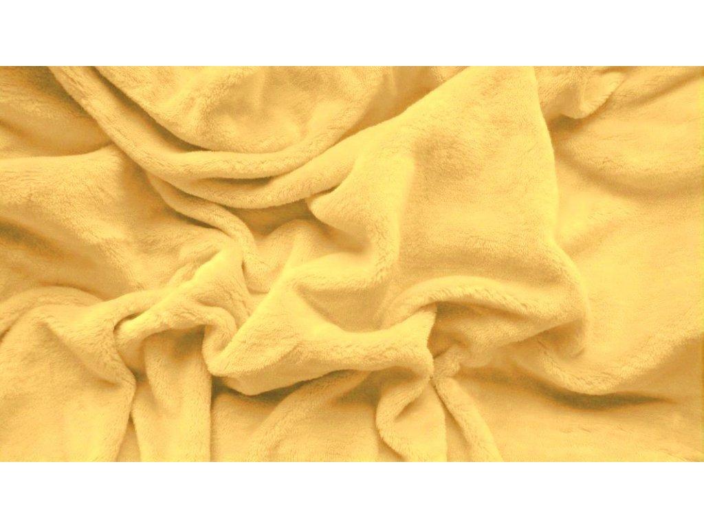 prostěradlo mikroplyš plyšové teplé jednolůžko 90 x 200 cm žluté