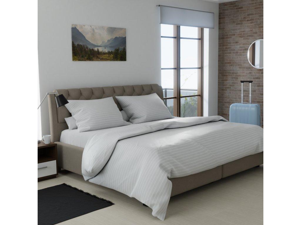 Hotelové povlečení atlas grádl krémové - 25x5 mm proužek česaná bavlna