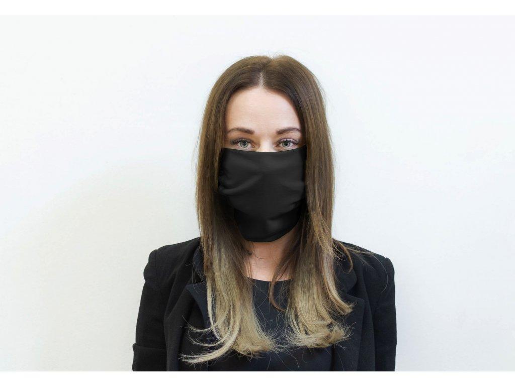 Designová bavlněná rouška černá