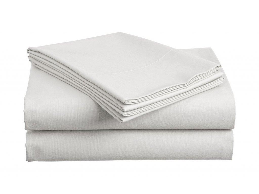 prostěradlo bavlněné plachta hladké hotelové dvoulůžko 220 x 240 cm bílé