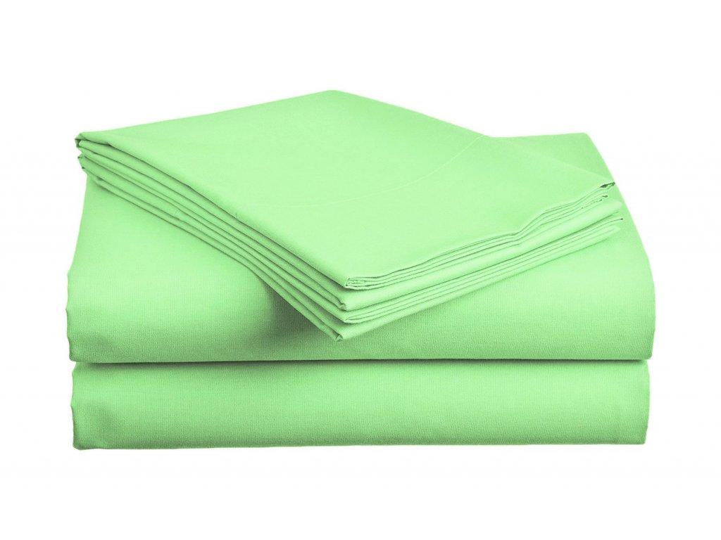 prostěradlo bavlněné plachta hladké hotelové jednolůžko 140 x 240 cm zelené