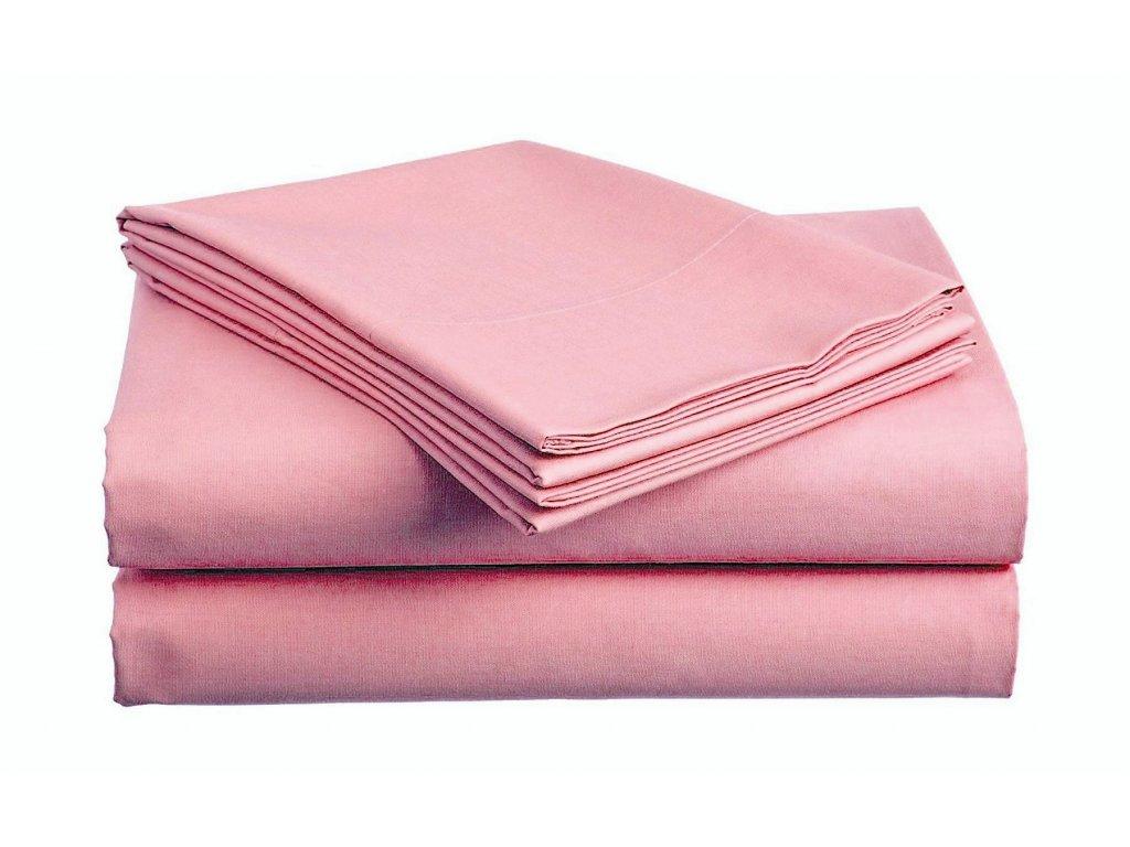 prostěradlo bavlněné plachta hladké hotelové jednolůžko 140 x 240 cm růžové
