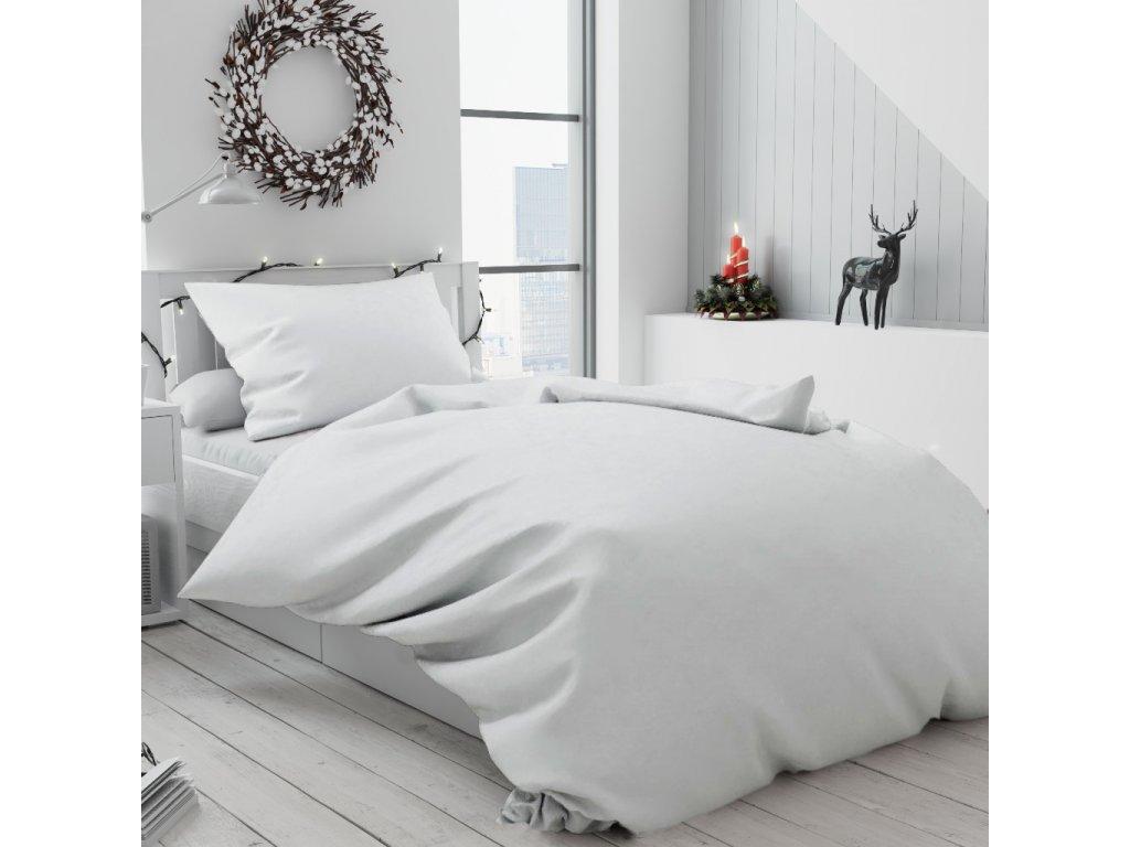 Bílé bavlněné povlečení Standard knoflík