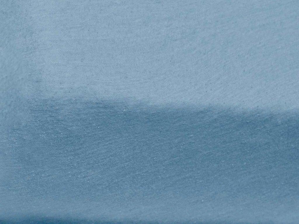 prostěradlo bavlněné jersey žerzejové jednolůžko 90 x 200 cm modré