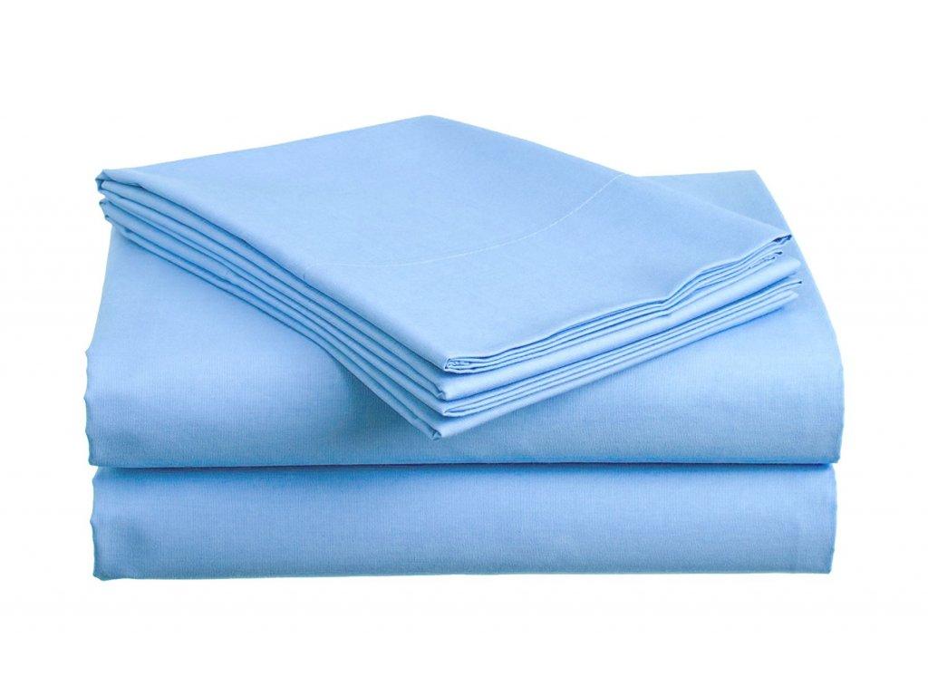 prostěradlo bavlněné plachta hladké hotelové dvoulůžko 230 x 240 cm modré