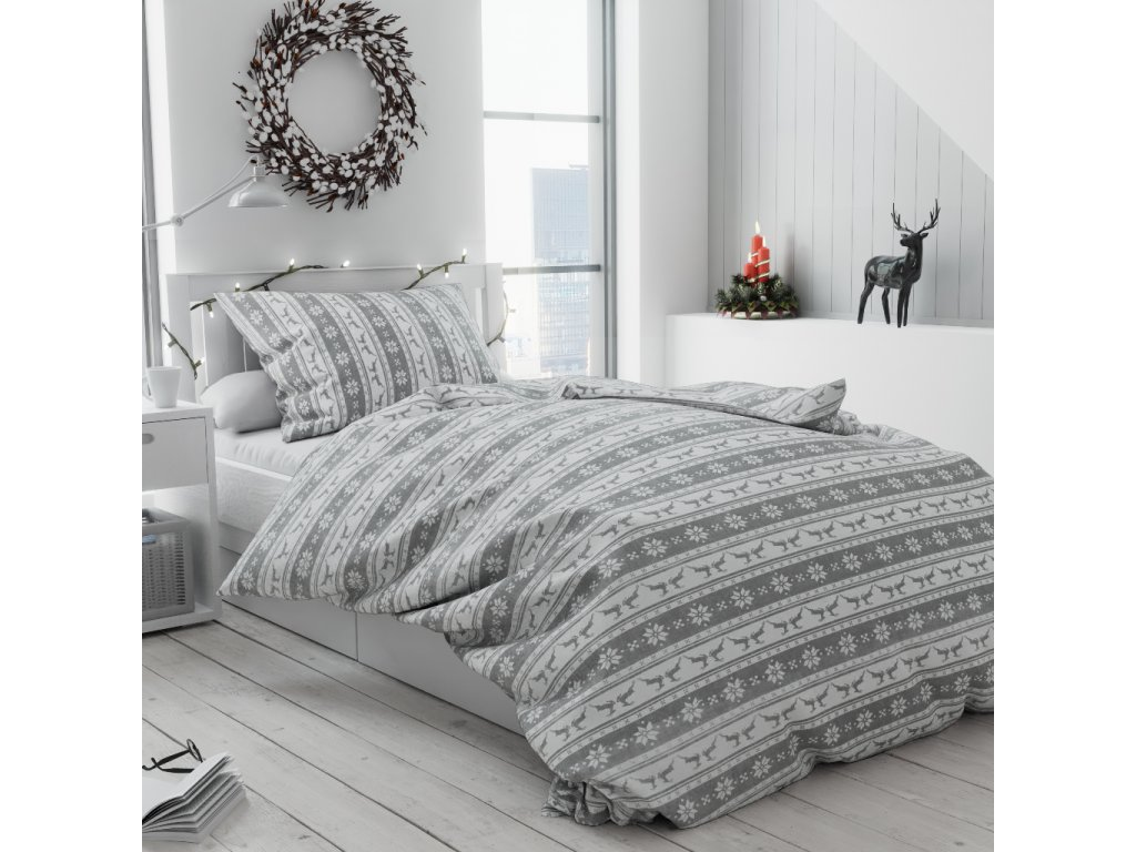 Bavlněné povlečení bílé šedé skandinávské jeleni sobi vánoční moderní pruhy vánoce