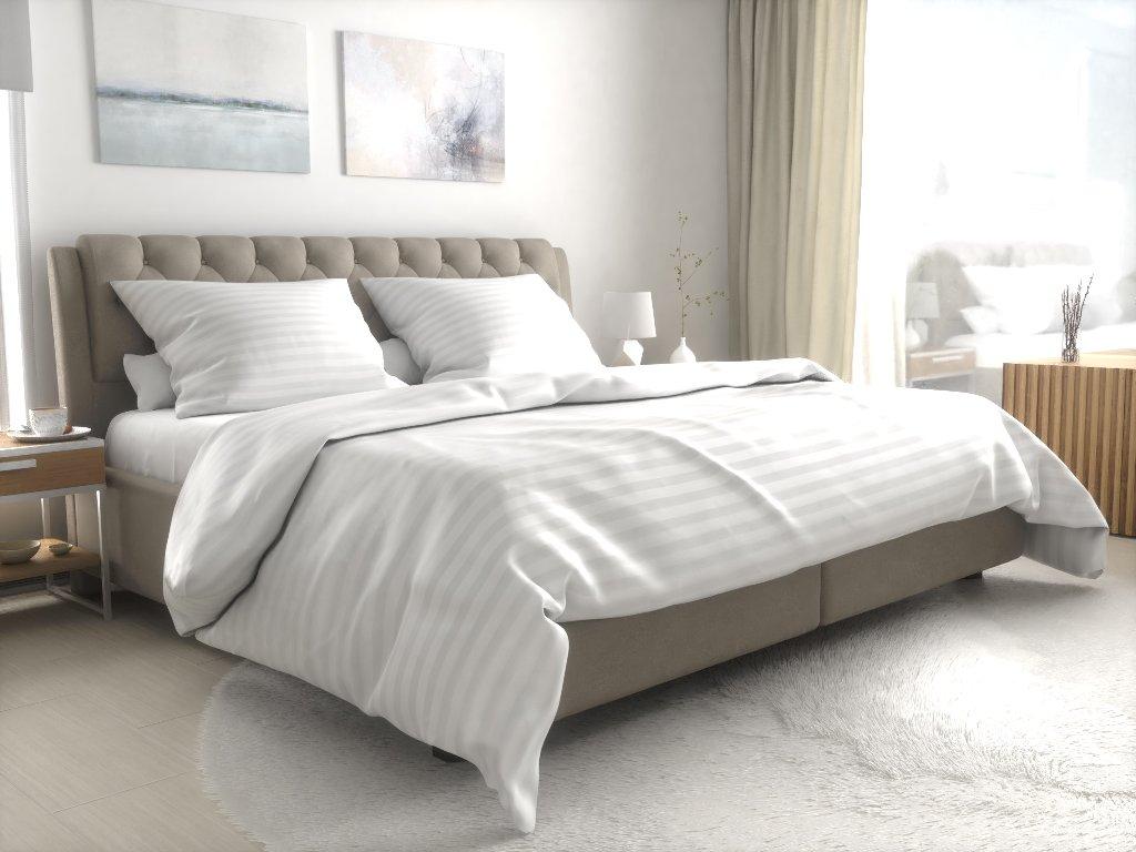 Hotelové povlečení atlas grádl bílé 3 cm proužek česaná bavlna