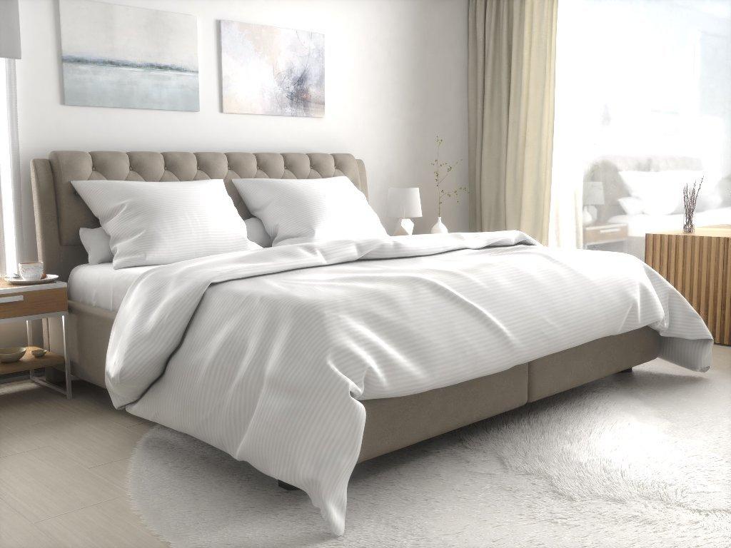 Hotelové povlečení atlas grádl bílé - 2 mm proužek česaná bavlna
