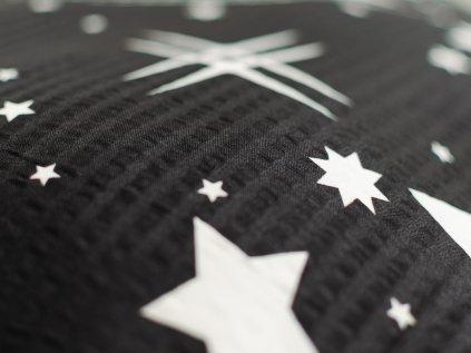 Krepové povlečení černé hvězdy hvězdičky noc obloha noční moderní vesmír
