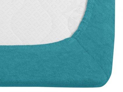 prostěradlo bavlněné froté dvoulůžko 140 x 200 cm tyrkysové modré