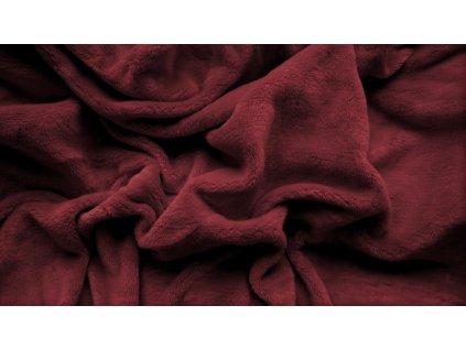 prostěradlo mikroplyš plyšové teplé jednolůžko 90 x 200 cm vínové červené