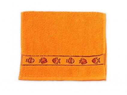 Ručník dětský 30 x 50 cm dětské motivy obrázky výšivka bavlněný oranžový ryba moře