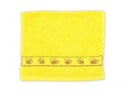 Ručník dětský 30 x 50 cm dětské motivy obrázky výšivka bavlněný žlutý včela včelka