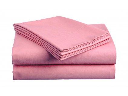 prostěradlo bavlněné plachta hladké hotelové dvoulůžko 230 x 240 cm růžové
