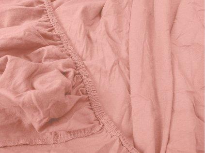 prostěradlo bavlněné jersey žerzejové jednolůžko 90 x 200 cm růžové